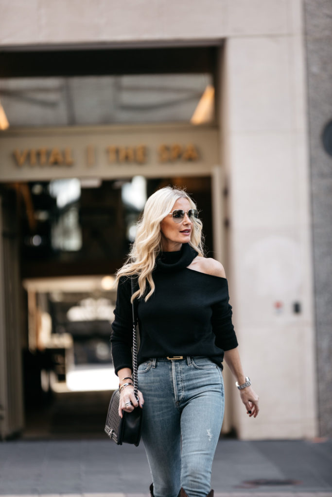 Dallas style blogger wearing a black sweater