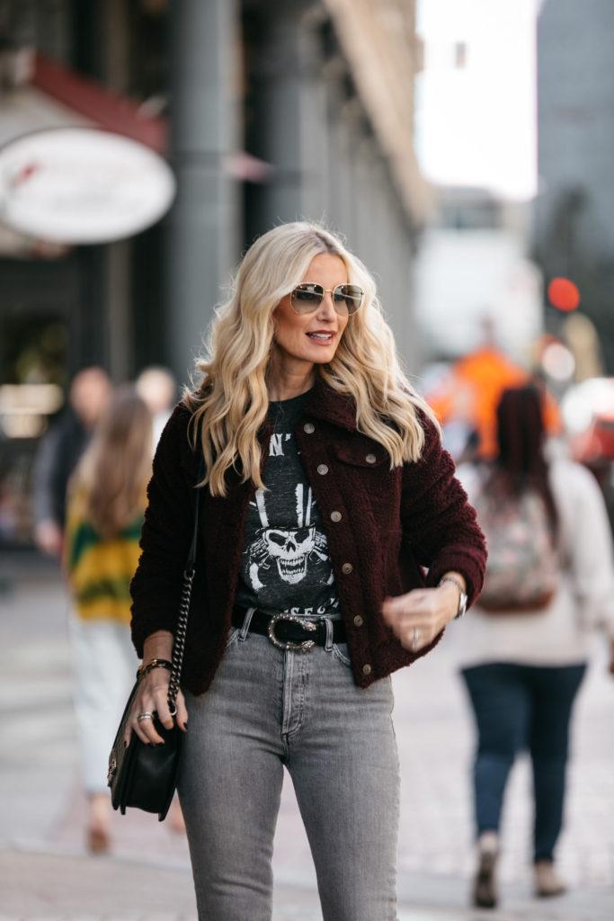 Dallas blogger wearing a faux fur jacket