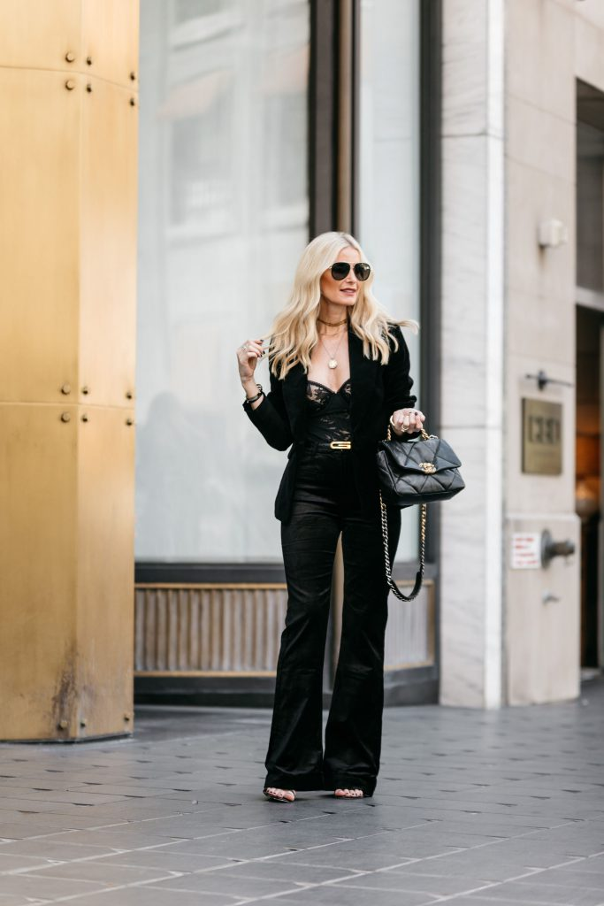 Dallas fashion blogger wearing a Gucci belt and a velvet pant suit