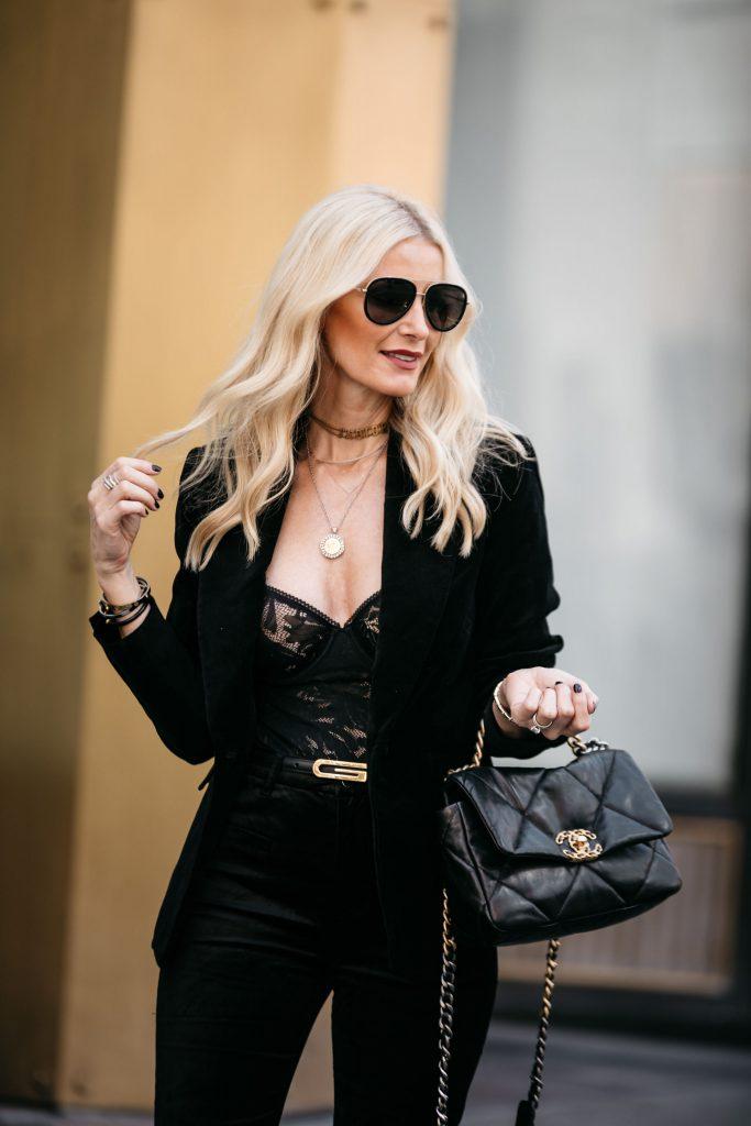Dallas blogger wearing a lace bodysuit