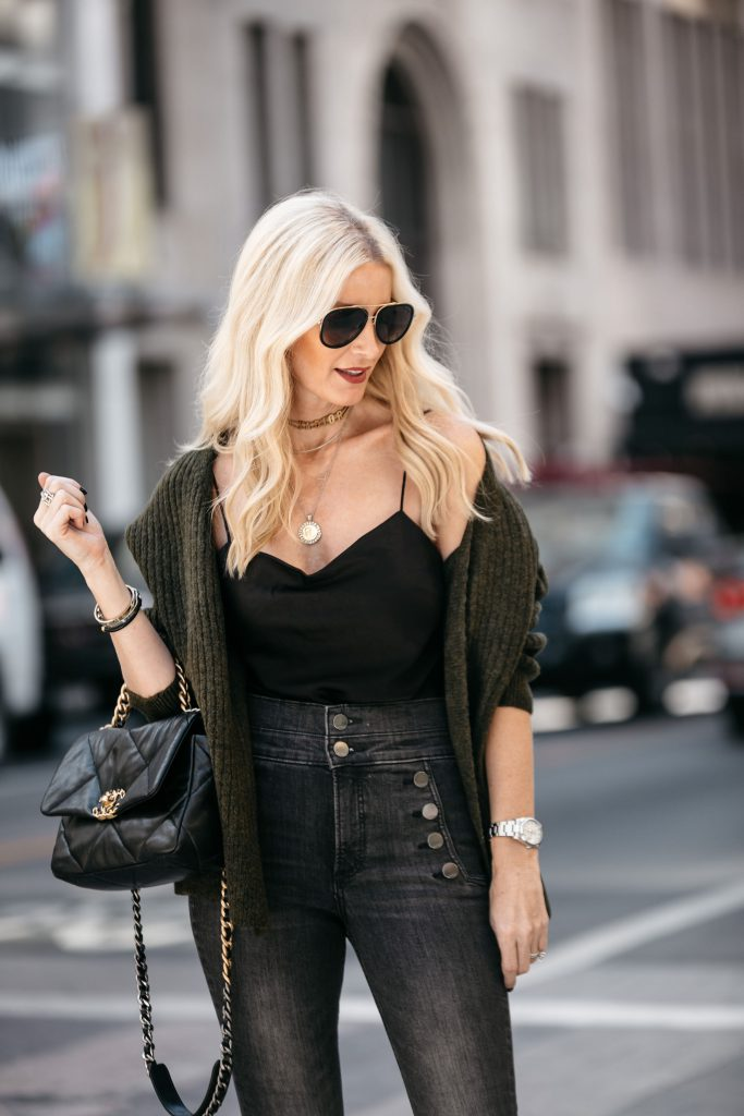 Dallas fashion blogger wearing black jeans and cardigan