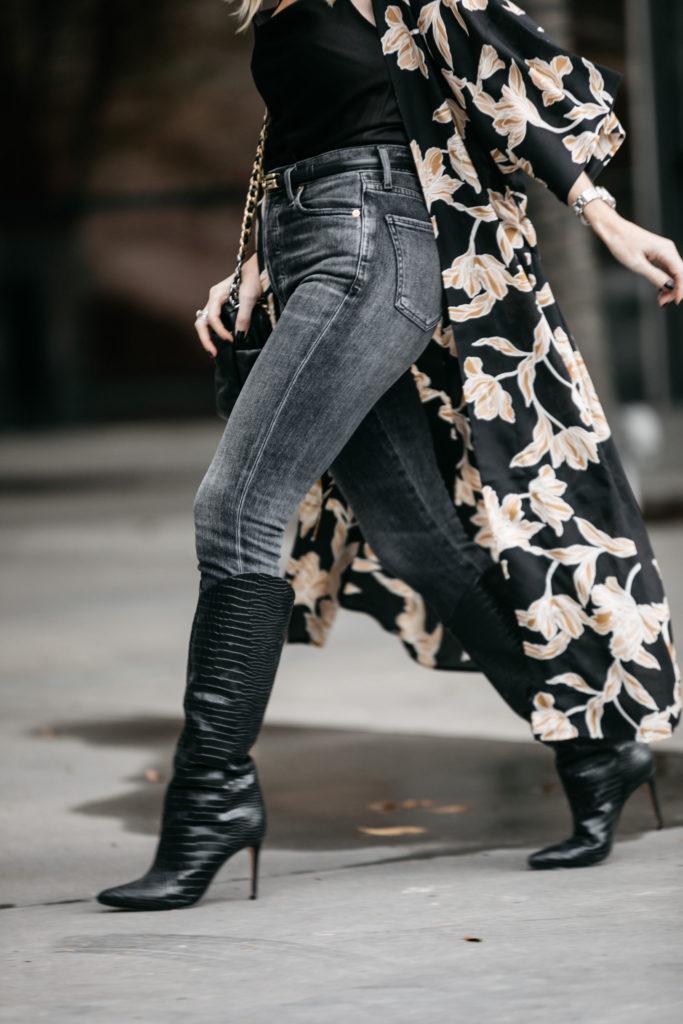 Dallas blogger wearing Schutz knee-high boots