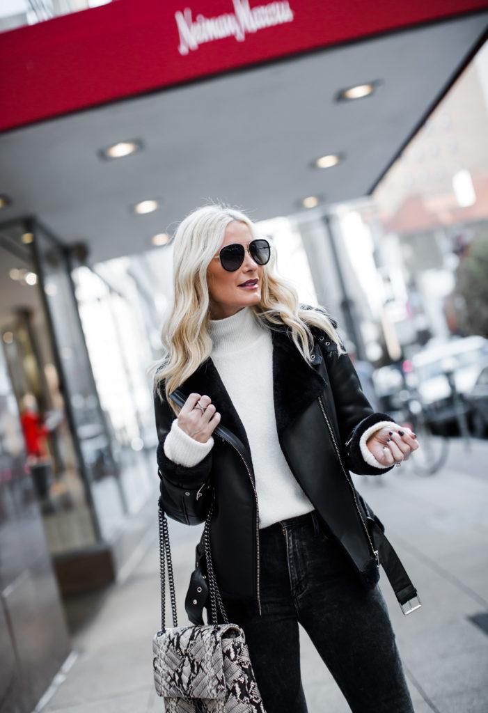 Dallas blogger wearing a shearling moto jacket
