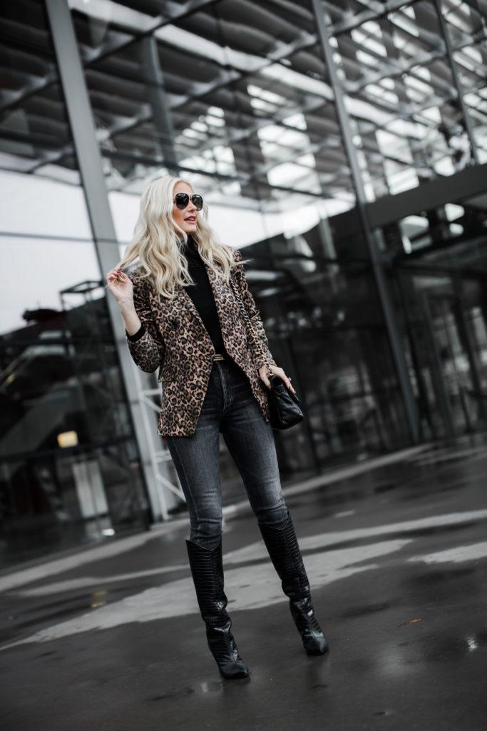 Style blogger wearing a leopard blazer