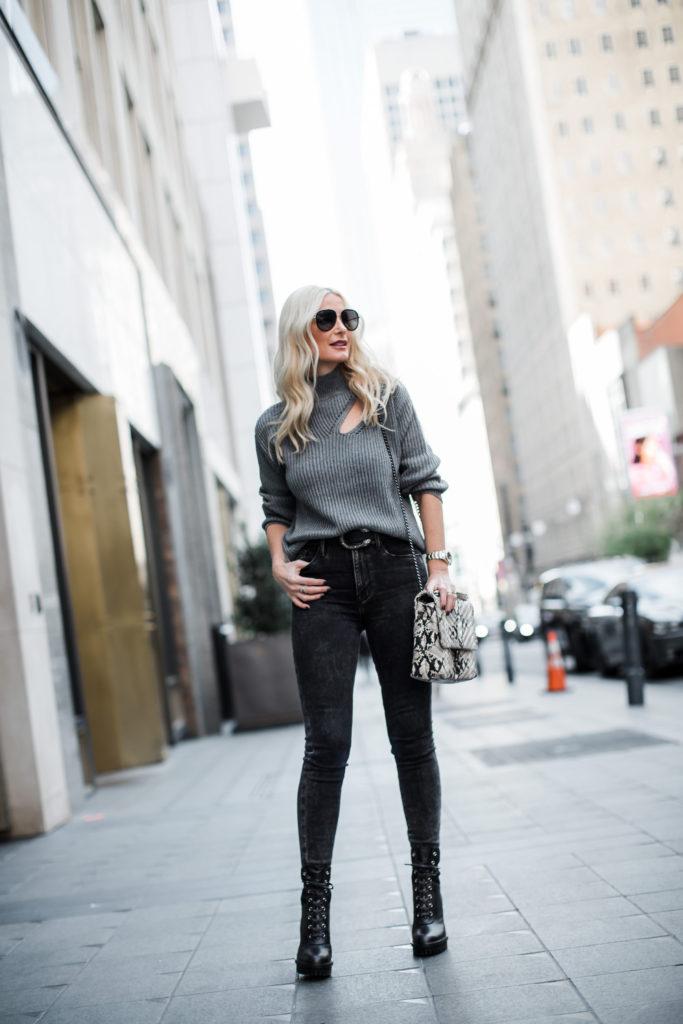Dallas blogger wearing black denim