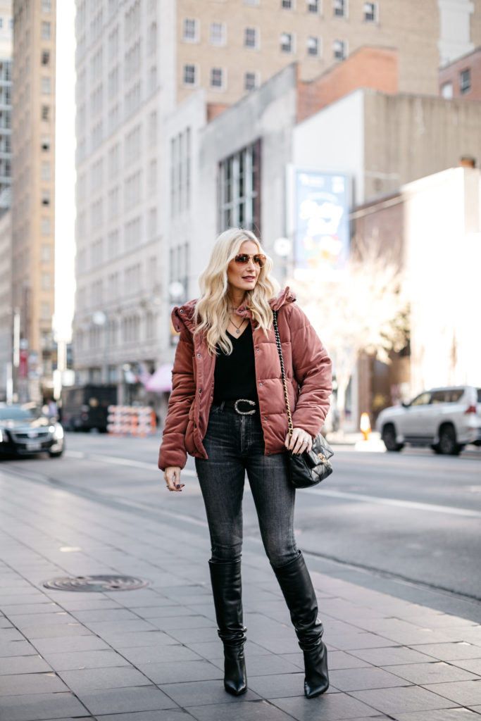 Dallas fashion blogger wearing a velvet puffer jacket by Rachel Parcel