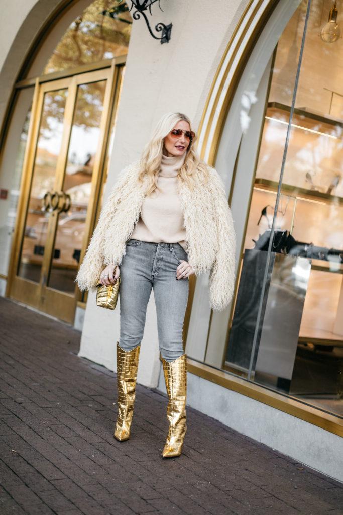 Dallas influencer wearing Schutz gold boots