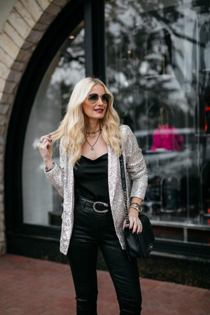How to wear a sequin blazer on NYE
