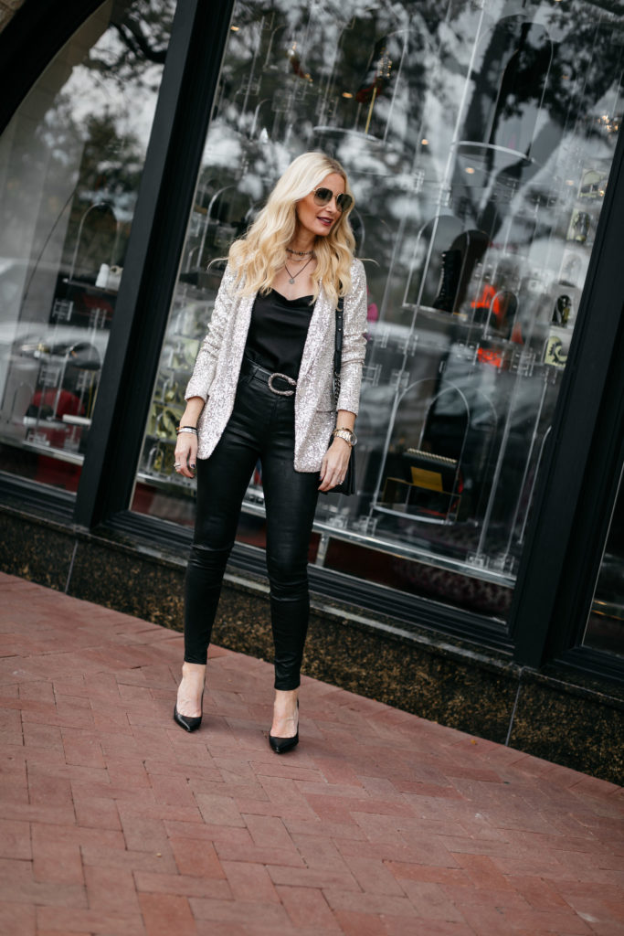 Dallas blogger wearing a sequin blazer and J Brand leather pants
