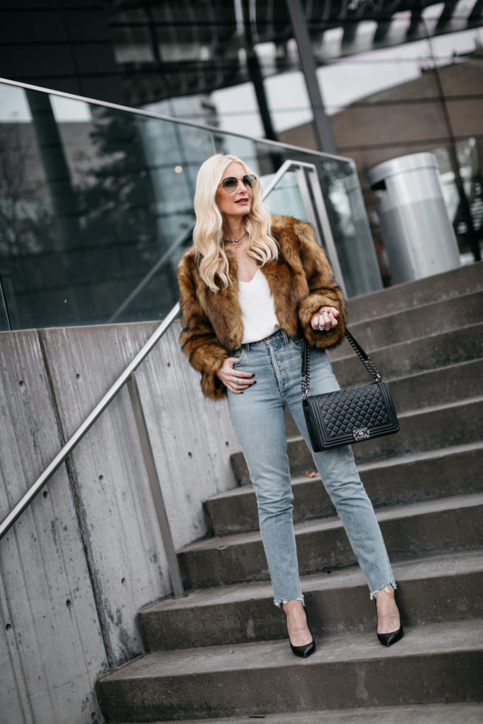 How to wear a faux fur jacket over 40