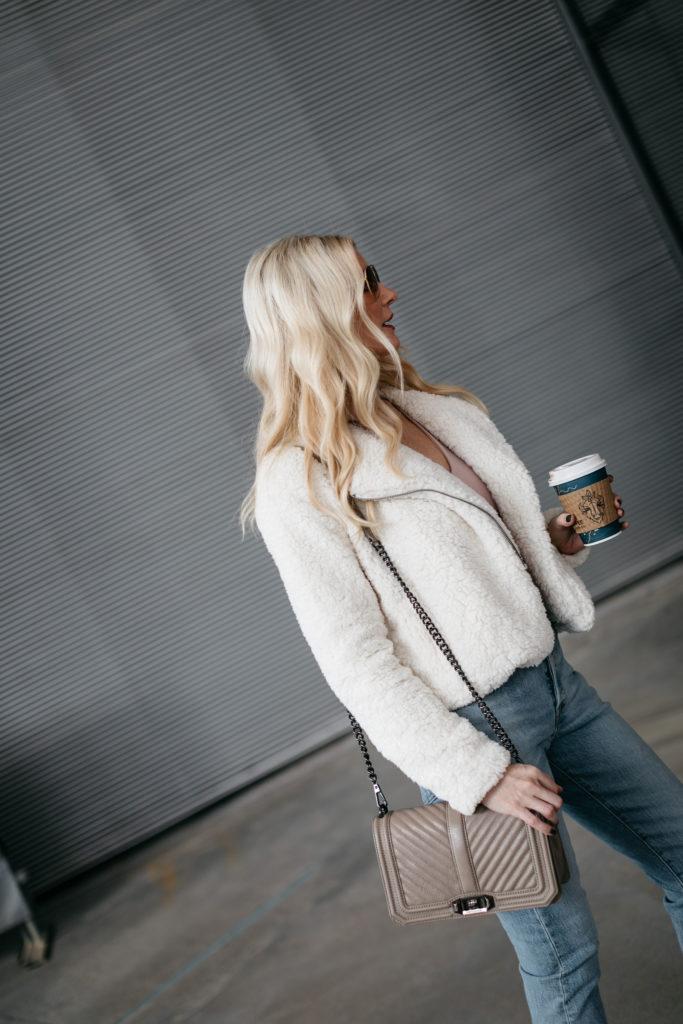 Dallas blogger carrying a Rebecca Minkoff handbag