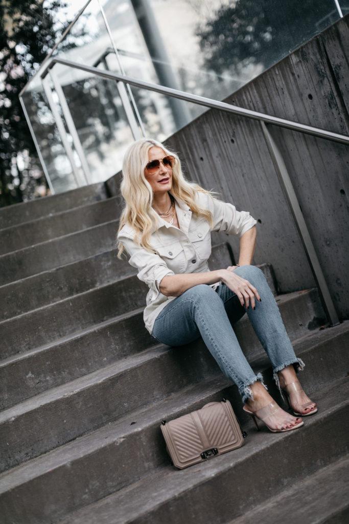 Dallas blogger wearing a jean jacket
