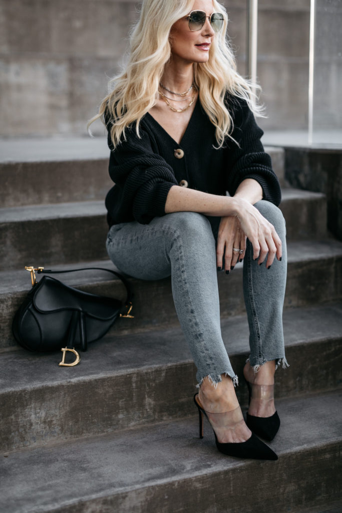 Dallas style blogger wearing denim and heels