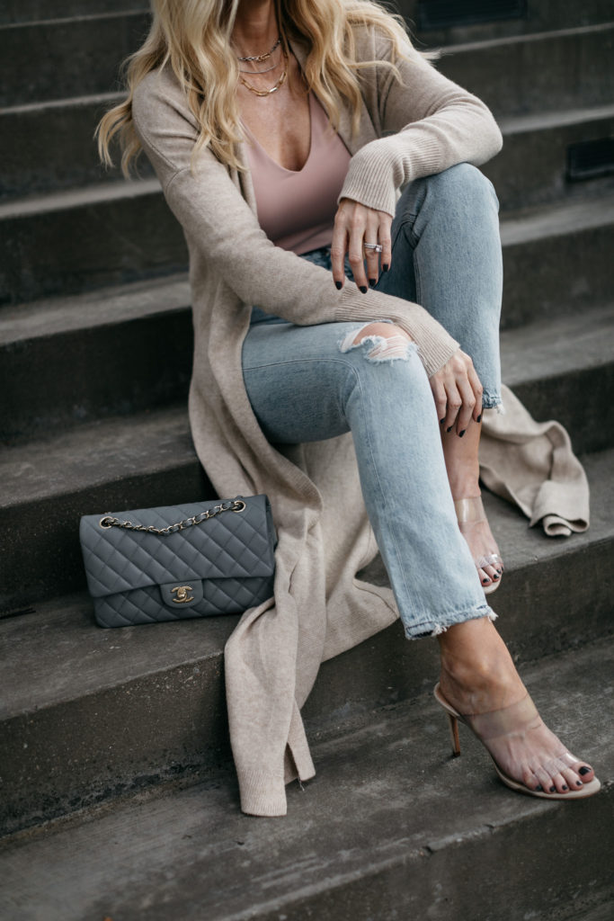 Dallas blogger wearing a sexy tank with a cardigan