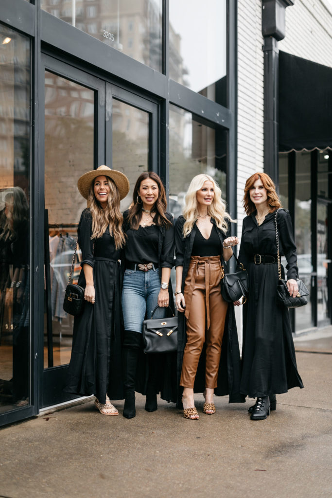 Dallas bloggers wearing black shirt dresses