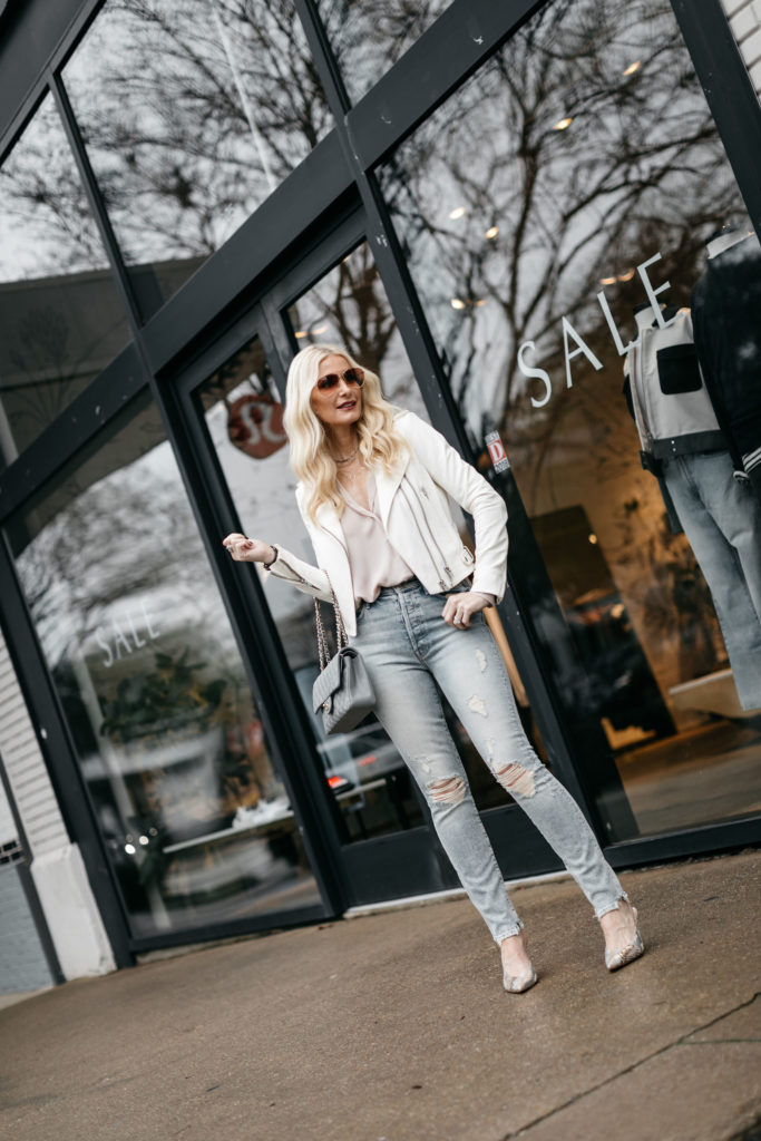 Dallas blogger wearing Mother jeans and an Iro leather jacket