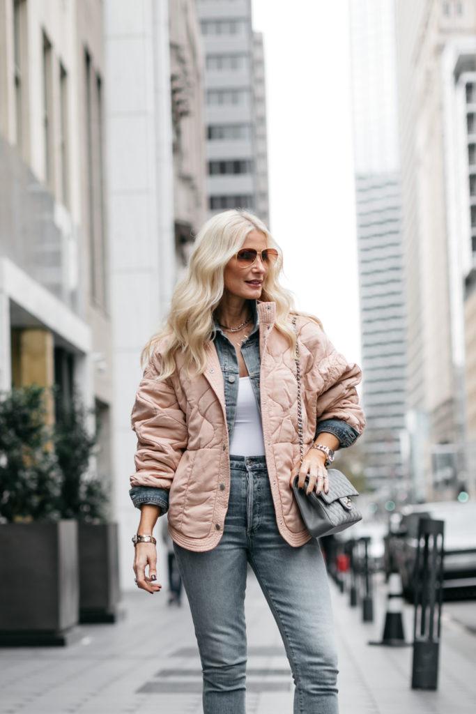 Dallas influencer wearing a Blanknyc jacket