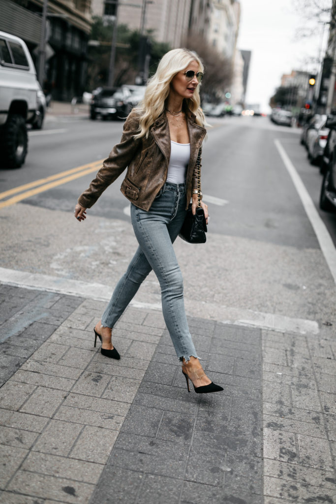 Dallas blogger wearing a moto jacket and heels