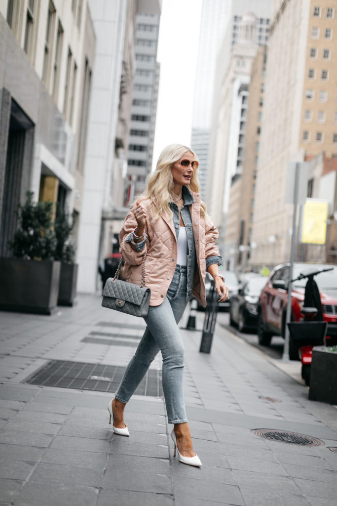 Dallas blogger carrying a Chanel Flap Bag