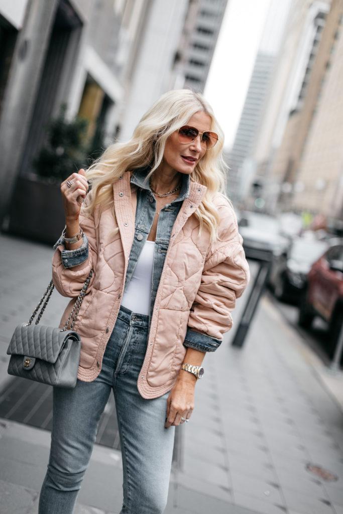 Dallas blogger wearing a denim jacket and Celine sunglasses