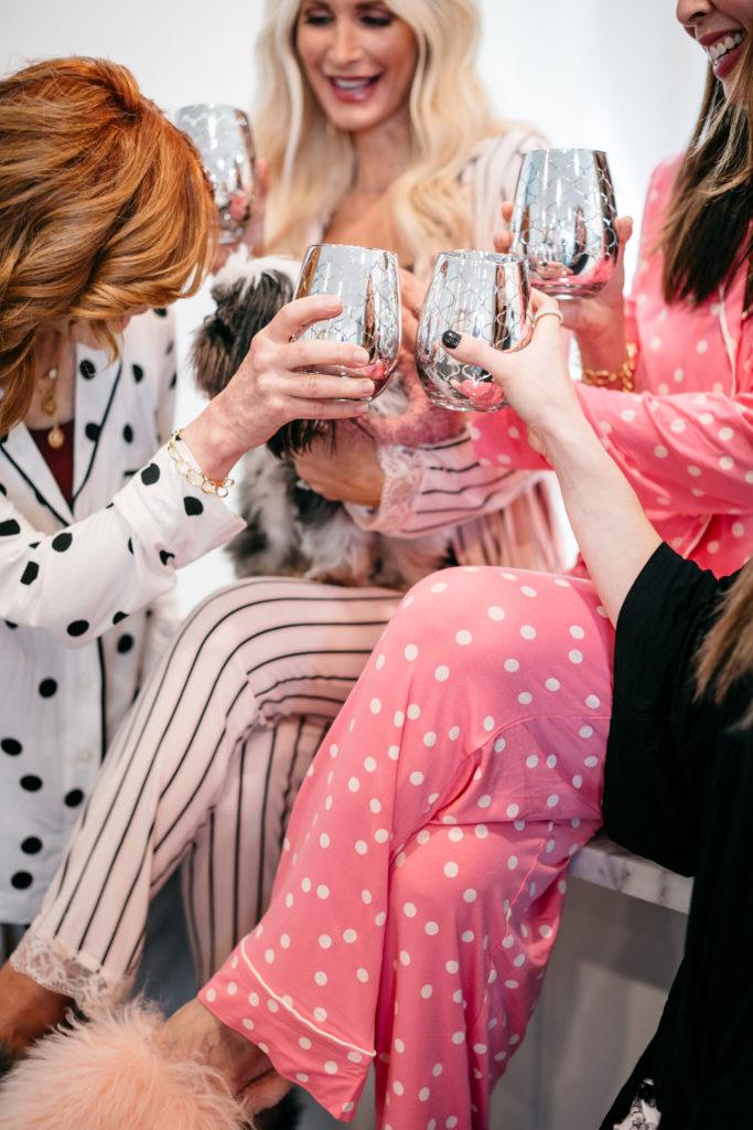 Dallas blogger wearing Soma pajamas