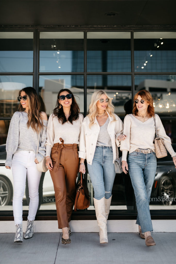 Fashion bloggers wearing spring outfits