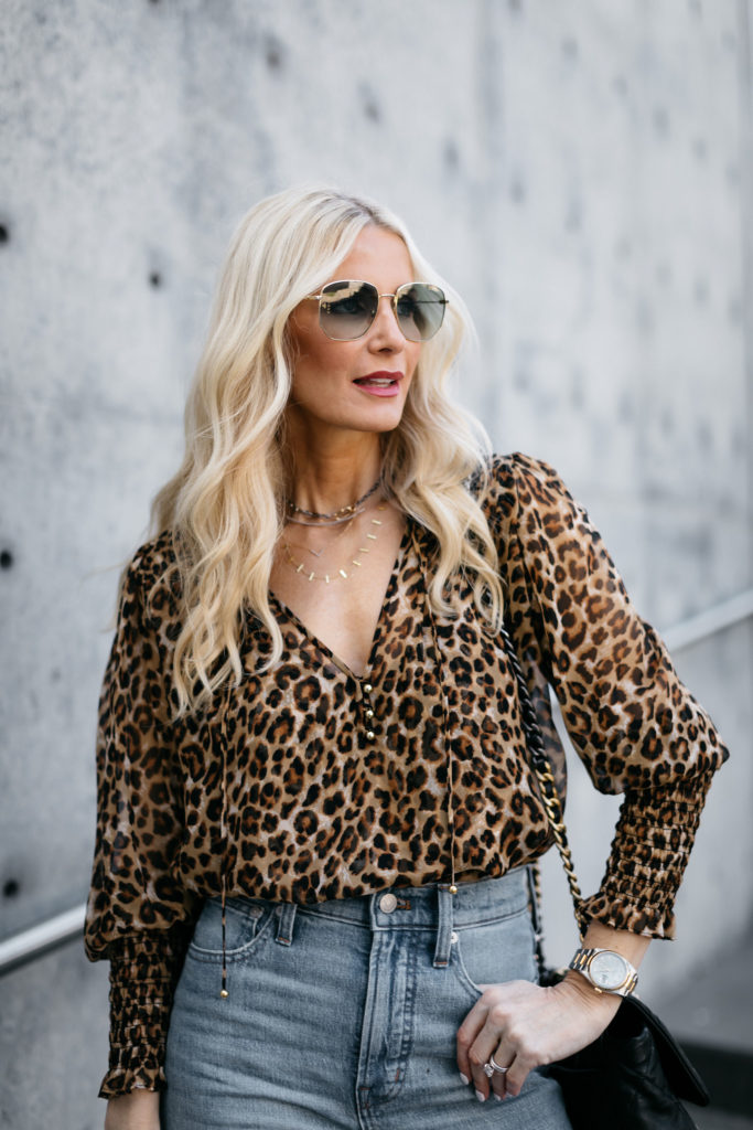 Dallas blogger wearing a Veronica Beard Leopard top