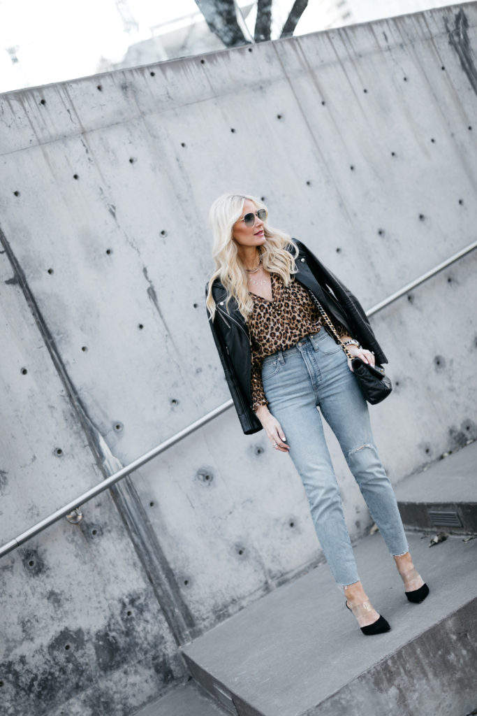 Dallas blogger wearing an Iro leather jacket