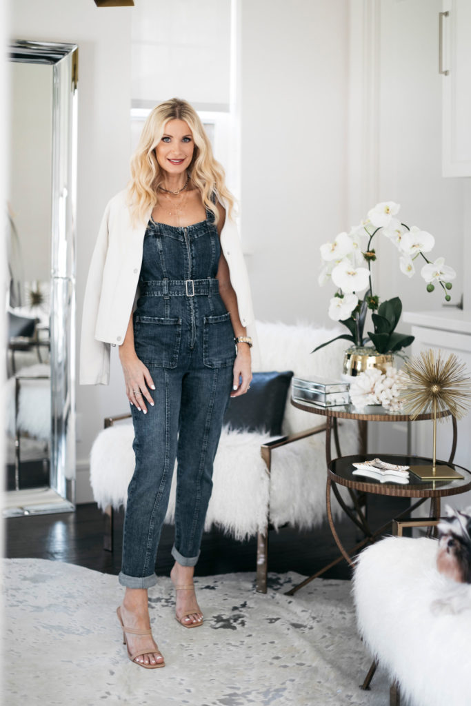 Fashion blogger wearing denim and heels