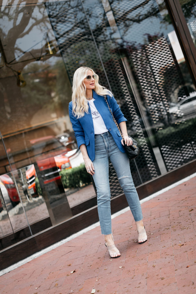 Dallas style blogger wearing a royal blue blazer and an Anine Bing graphic tee