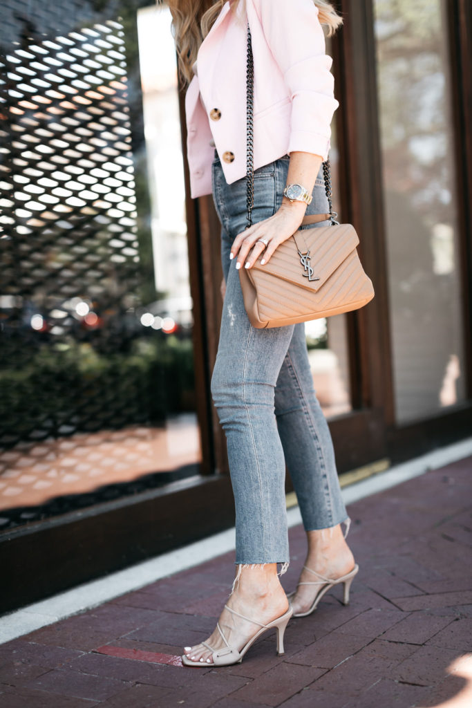 Style influencer wearing a neutral YSL bag and a cropped blazer