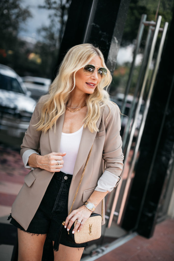 Dallas fashion blogger wearing an over-sized blazer and shorts