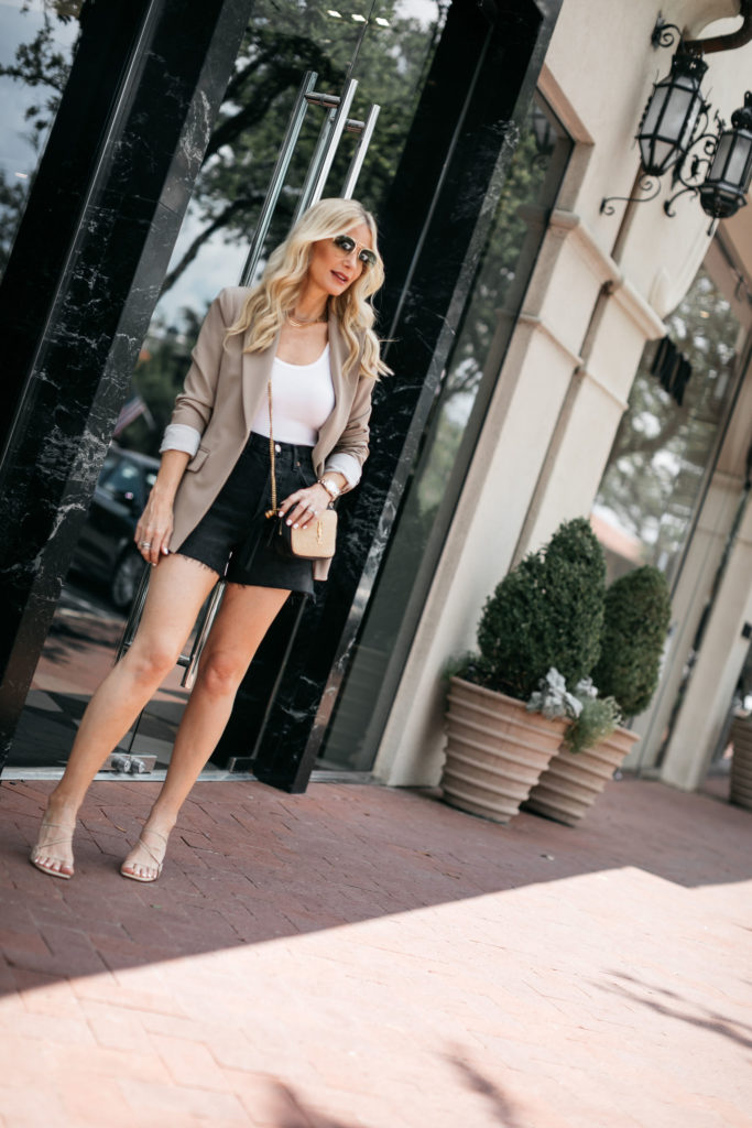 Dallas blogger wearing denim shorts over 40