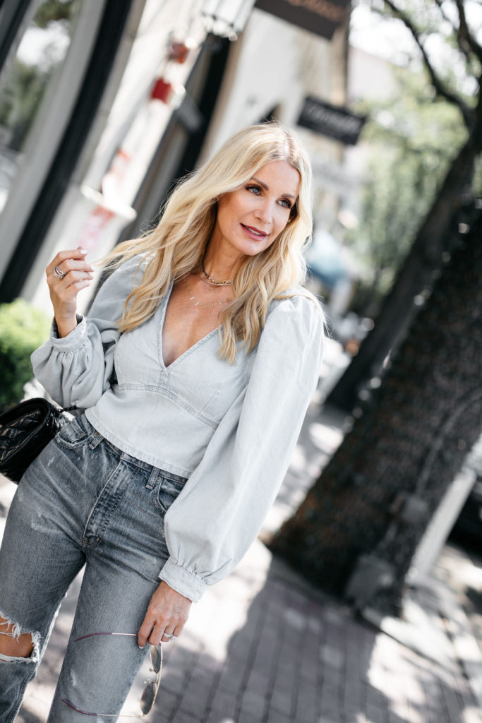 Dallas blogger wearing denim on denim