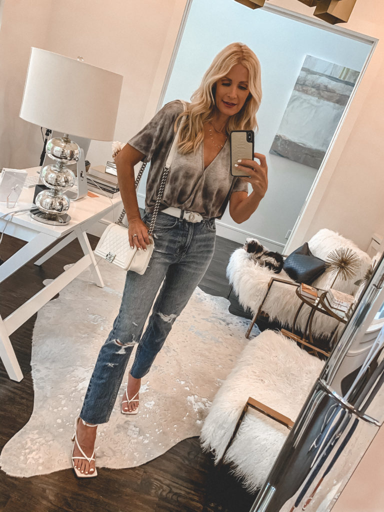Dallas style blogger wearing vintage denim and a metallic top