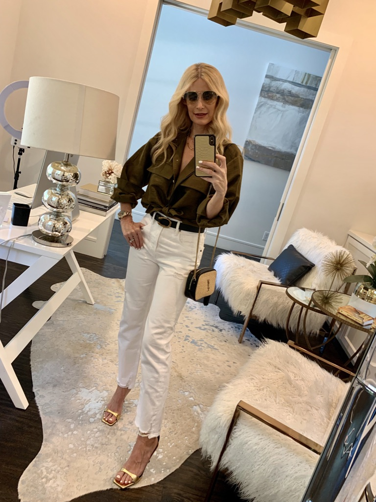 Dallas blogger wearing army green button down and white jeans