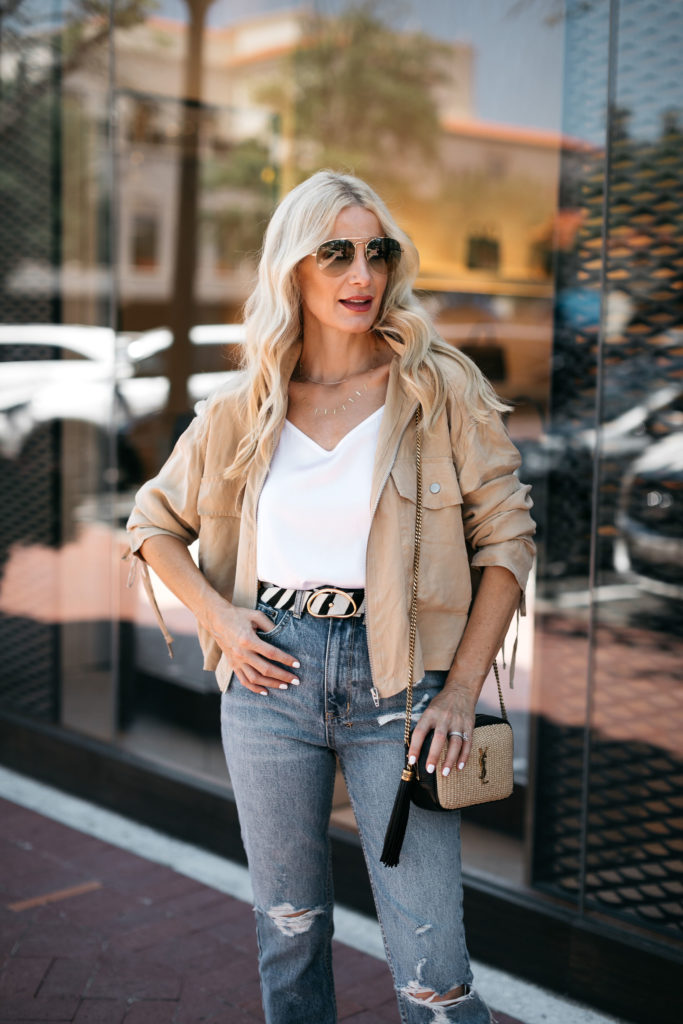 Dallas blogger wearing a utility jacket over a white cami