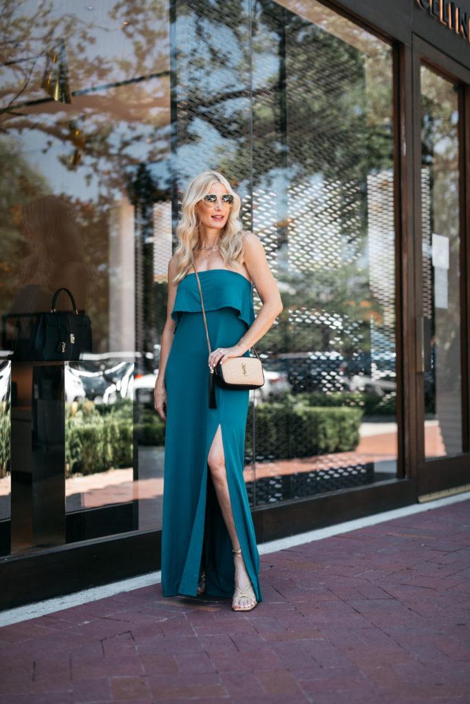 Dallas blogger wearing a teal maxi dress