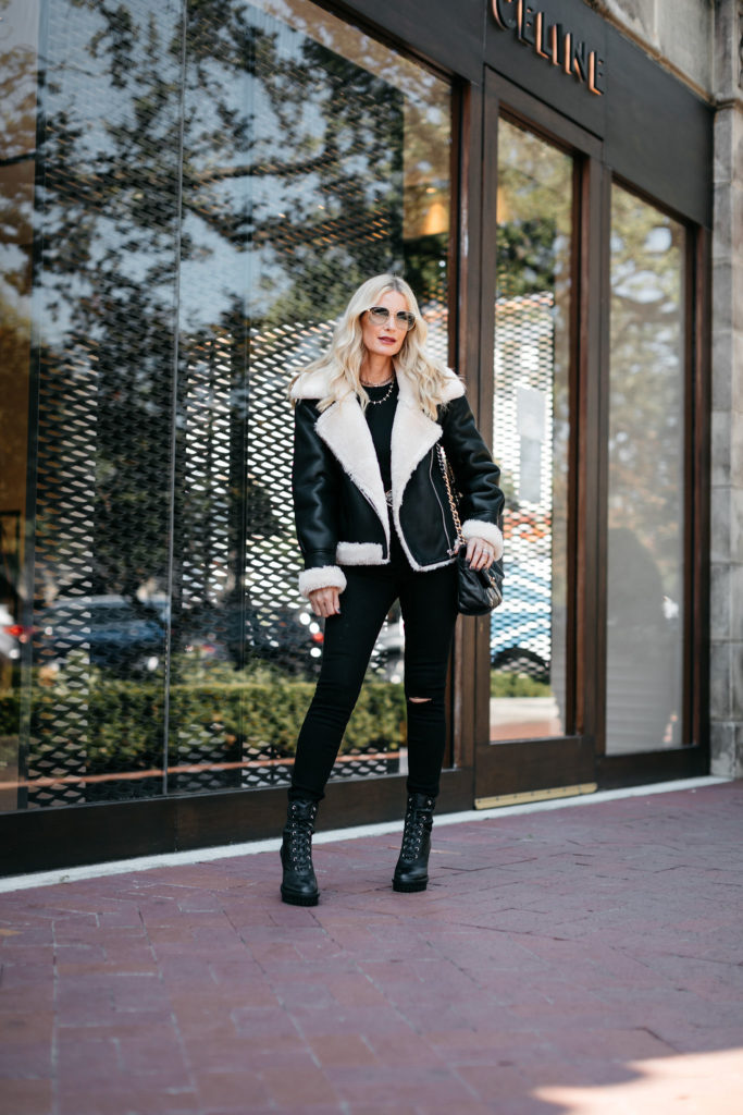 Dallas fashion blogger wearing a winter jacket and black jeans from Nordstrom