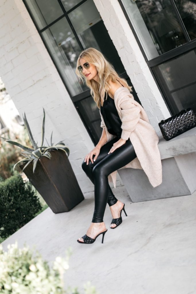 Dallas blogger wearing a neutral cardigan and faux leather leggings for fall