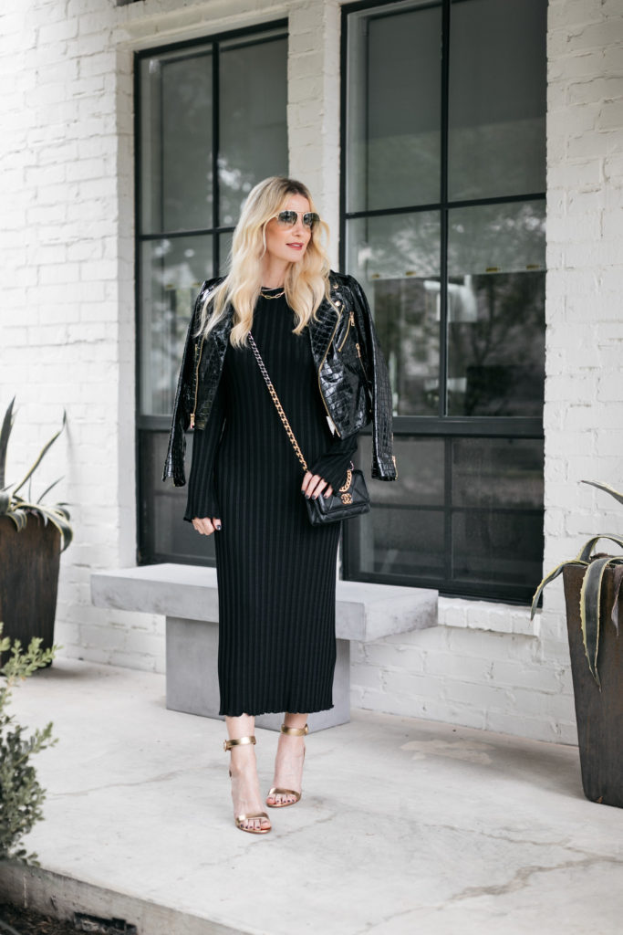 Dallas blogger wearing a leather croc-embossed jacket and a slimming black dress for date night