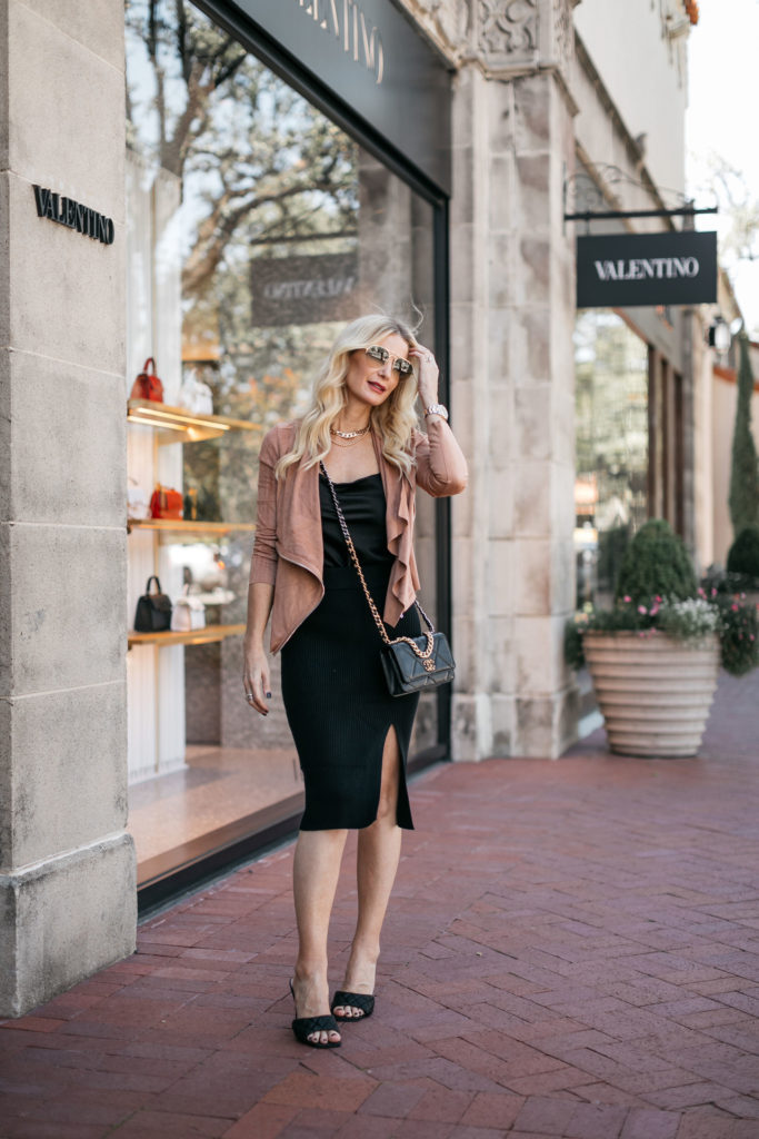 Dallas blogger wearing a suede jacket and a black slip dress for fall