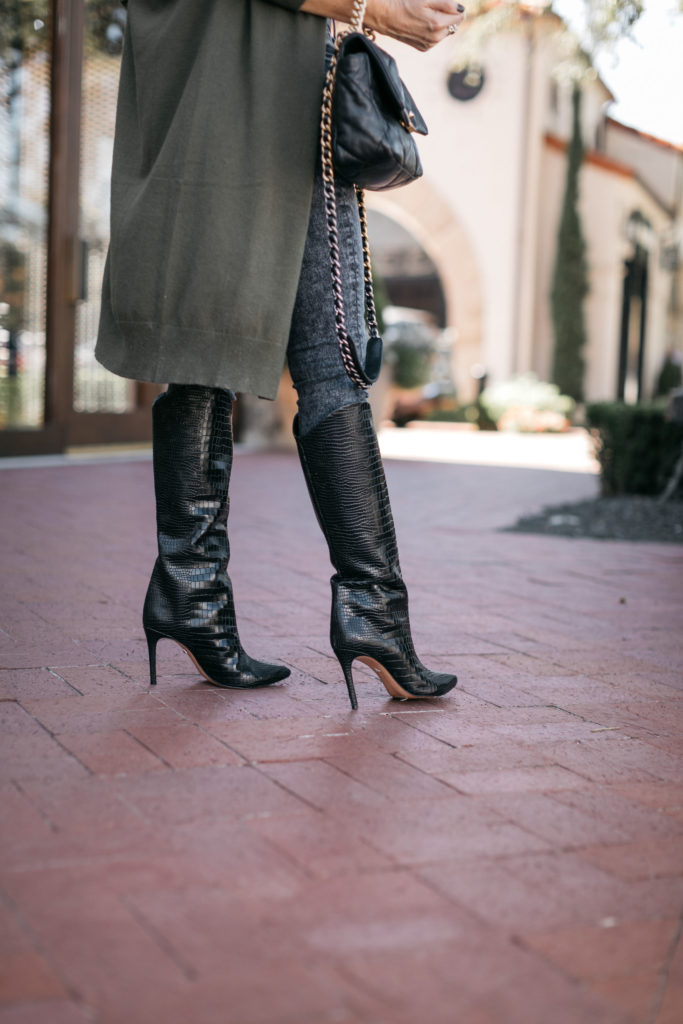 Dallas blogger wearing knee high black boots for fall and winter 2020