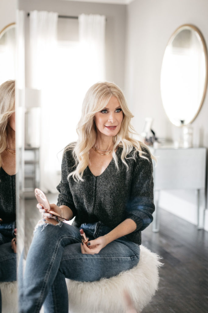 Dallas fashion blogger wearing a fall sweater and berry lip shade from Nordstrom