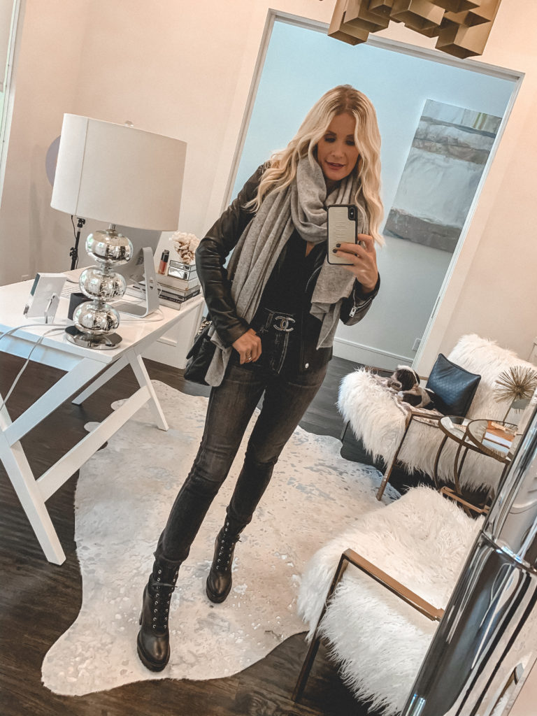 Dallas blogger wearing a cashmere scarf and black denim with combat boots