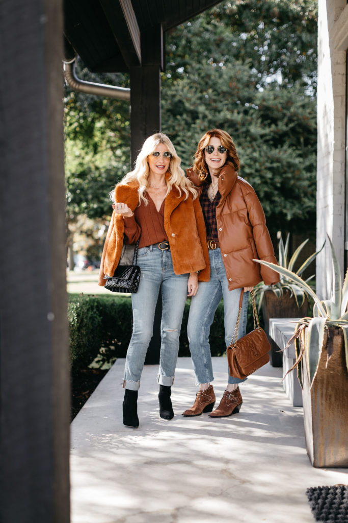 Dallas fashion bloggers So Heather Blog and The Middle Page wearing rust colored jackets for winter