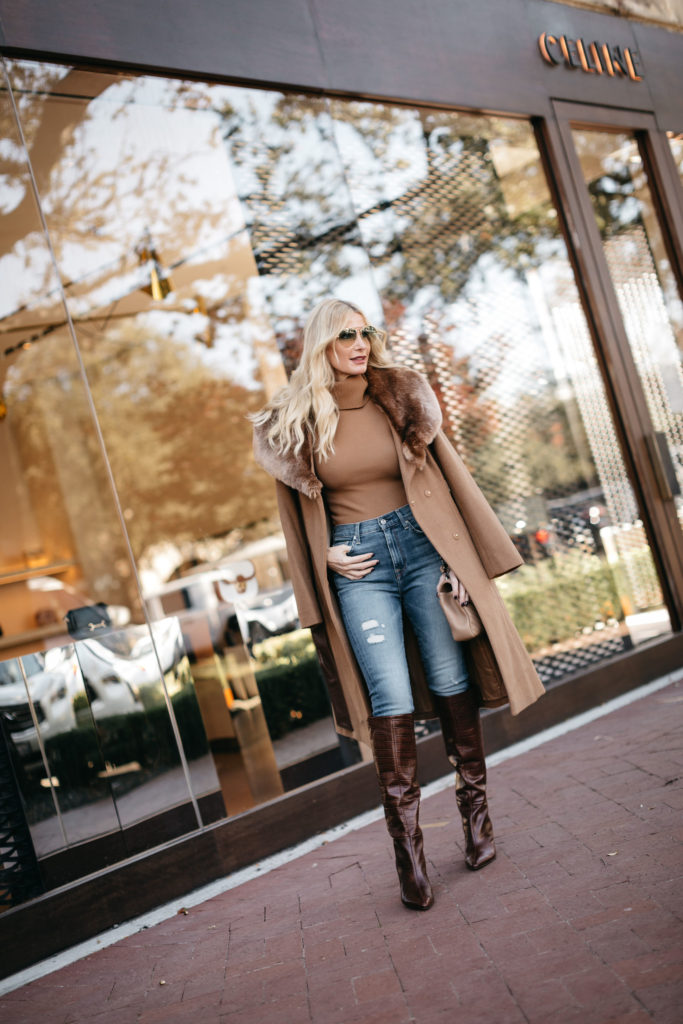 Fashion blogger wearing a camel coat with a fur hood and knee high brown boots