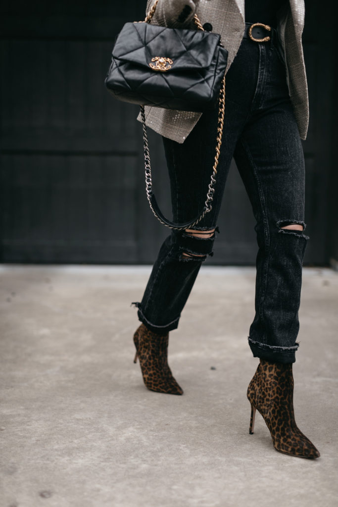 Dallas blogger wearing leopard booties and a quilted leather chanel purse