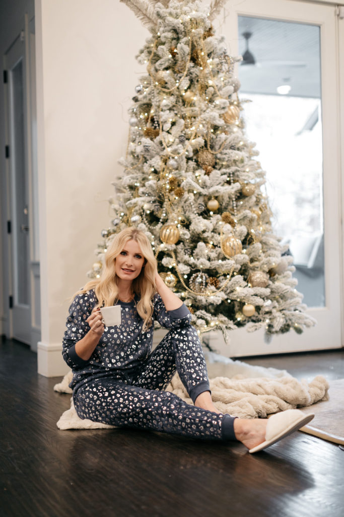 Dallas style blogger leopard PJ set with white slippers for Christmas