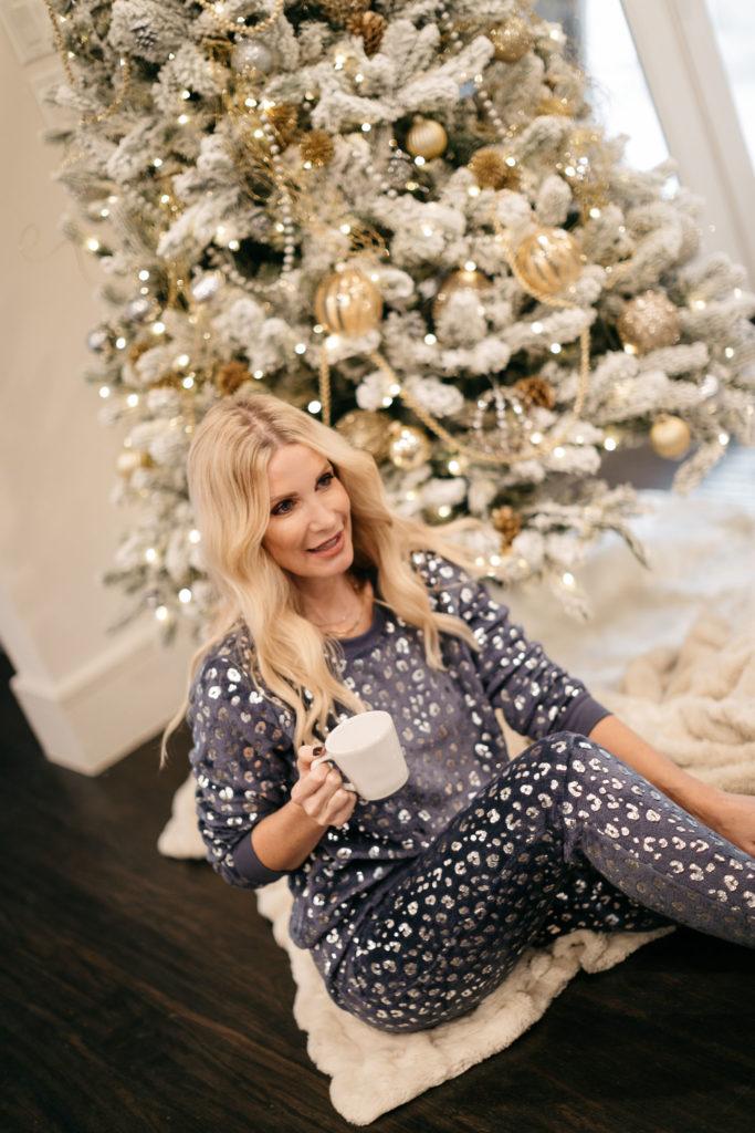 Dallas fashion blogger wearing a velvet loungewear set under $50